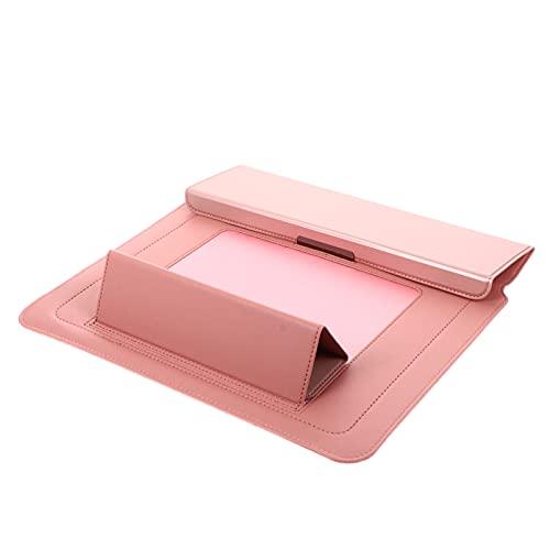Lurrose Suporte de Laptop Sleeve Compatível para Macbook Pro 13 14 Polegadas Tampa Do Computador Portátil Saco 3 Em 1 Multifuncional PU Laptop Caso Estande Rosa