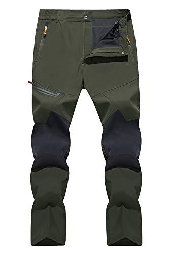 TACVASEN Men's Pants Quick Dry Mountain Pants Hunting Fishing Trekking Trousers, Green, 34