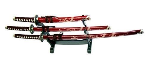Royal Plus Set di 3 Katana Ornamentale Rossa con INCISIONI Dragone E Stand (ZS574S Rosso)