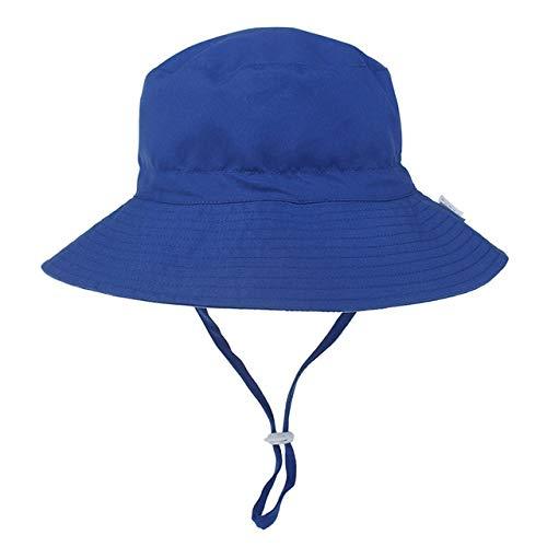Verano bebé Sombrero para el Sol niños Gorra niños Unisex Playa niñas Sombreros de Cubo Dibujos Animados Infantil protección UV-Royal blue-1-6-36 Months Baby