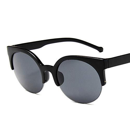 SSLL Sonnenbrille Mode Cat Eye Sonnenbrillen Frauen Retro Vintage Half Frame Brillen Round Circle Semi-Rimless Brille Uv400-Schwarz