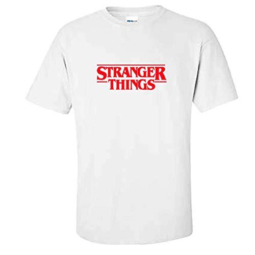 MITEES Unisexe Stranger Things T-Shirt Été Tshirt pour Hommes et Femmes (Large, White Solid)