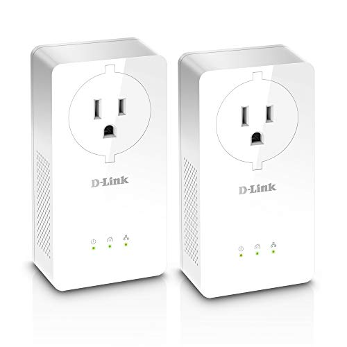 D-Link Powerline Adapter Pass Through Extender Ethernet Over Power Gigabit AV2 Up to 2000Mbps MIMO Internet Network Plug in (DHP-P701AV)