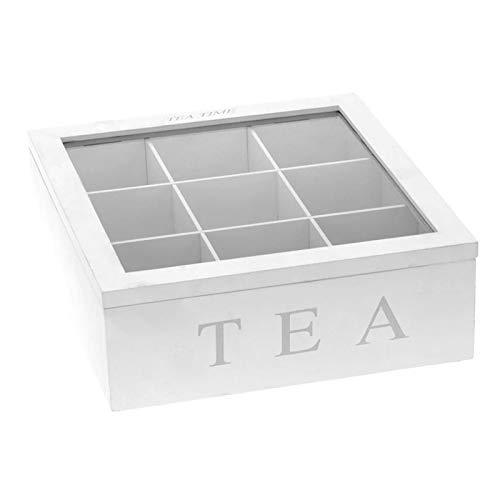 Weiß Teekiste Teebox aus Holz,Teekasten mit 9 Fächern,Teebeutel Tee Kaffee Teebeutel Aufbewahrungsbox Organizer Teekasten mit Deckel,Sichtluke Bewahren des Aromas für intensiven Teegenuss