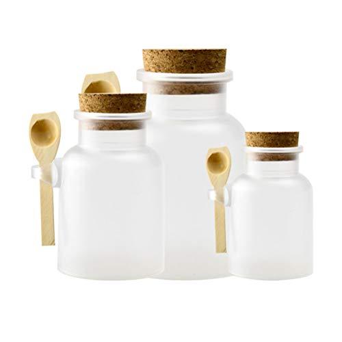 Lurrose 3st Clear voorraadpot lege navulbare kruidensauzen glas met kurk en houten lepel voor badzout lichaam hand gezicht, peeling keuken