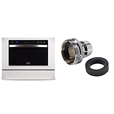 BLACK+DECKER BCD6W 6 Place Setting Compact Countertop Dishwasher & Danco Dishwasher Faucet Adapter | Dishwasher Snap Adapter Connection | 15/16-27Male or 55/64-27Female | Chrome (36108E)