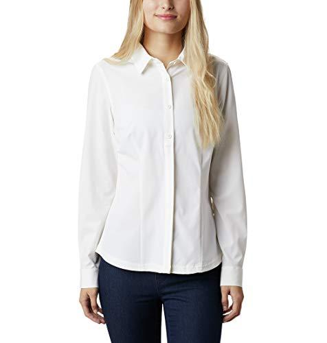 Columbia Saturday Trail Camisa de Manga Larga elasticada, Mujer, White, M