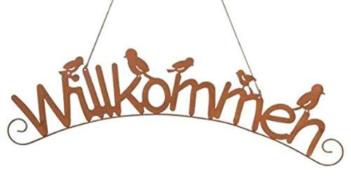 Rostalgie Edelrost Schild Schriftzug Willkommen mit Vögeln 75,5 x 21 cm Wandschild Garten Dekoration