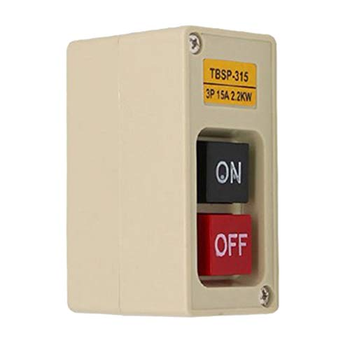 Milageto 1pc TBSP-315 3P 2.2Kw 15A Estación de Interruptor de Botón de Encendido Teclas ENCENDIDO/APAGADO