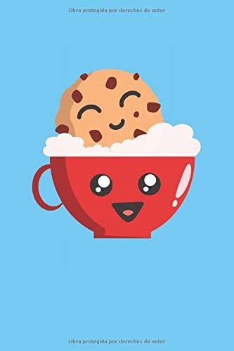 Baño de galletas kawaii: Divertido Manga Anime Coffee Cup con Biscuit Coffee Drinker Gifts Notebook Forrado (Formato A5, 15,24 x 22,86 cm, 120 páginas)