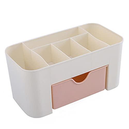 YKW Organizador de Escritorio Cajón de plástico 6 Grid Cosméticos Caja de Almacenamiento Papelería Contenedor Pensión Pluma Organizadores de Escritorio (Color : Pink)