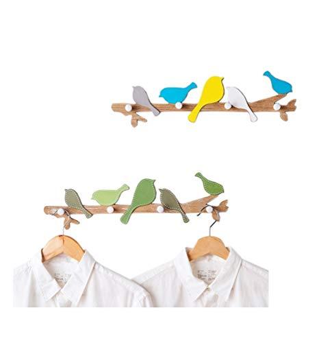 Decoratiefiguur Little Bird wandhaken van hout in landelijke stijl - landelijke stijl cartoon - 18,8 in (twee stuks)
