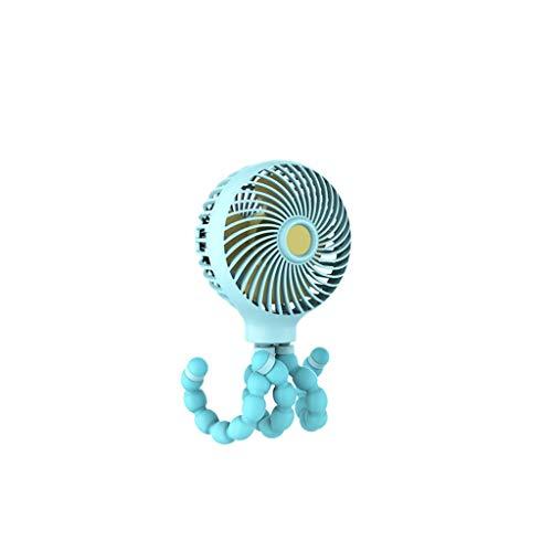 QBY draagbare babyventilator met mini-handschoen en ventilator draagbaar met statief flexibel op de ventilator voor kinderwagen, studentenbed, fiets, Blauw