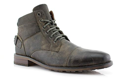 Polar Fox Christopher MPX806057 Mens Casual Work Lace Up Classic Motorcycle Combat Boots (8, Grey)