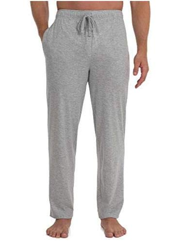 Fruit of the Loom Men's Extended Sizes Jersey Knit Sleep Pant (1-Pack), Light Grey Heather, Large