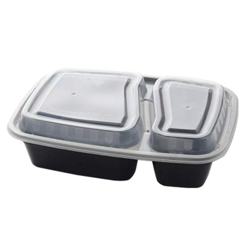 Lowest Price! 2 Section Rectangular Food Container with Lid - 32 oz | ReForm Collection | Pack of 15...