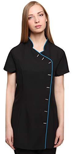 Mirabella Health & Beauty Damen Berufsbekleidung Kasack Iris Schwarz-Blaugrün Gr. 50