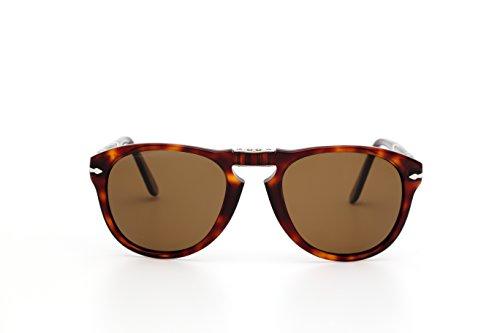 Persol Unisex-Adult PO0714 Sunglasses, Havana/Brown Polarized, 54 mm