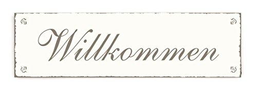 SCHILD Türschild « WILLKOMMEN » Shabby Vintage Holzschild Dekoschild Dekoration Gastronomie Restaurant Hotel