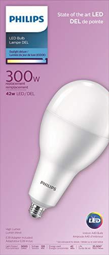 Philips LED 479303 LED Non-Dimmable A40 Super Bright Bulb 5000-Lumen, 6500-Kelvin, 42-Watt (300-Watt Equivalent), E26 Base, Day Light Delux