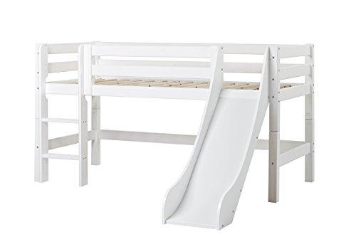 Hoppekids Premium Halbhohes Bett Kiefer massiv inklusiv Lattenrost, gerade Leiter und Rutsche, Holz, Weiß, Single, 209 x 114 x 197 cm