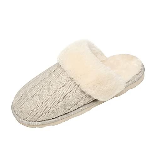 DREAM PAIRS Women's Cozy_06 Beige Cable Knit Faux Fur Mules Comfy Slippers Size 5.5-6 M US