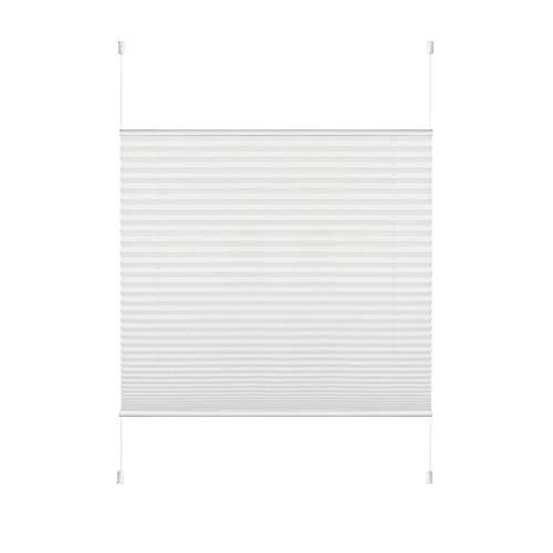 HOMEDEMO Plissee Klemmfix ohne Bohren Jalousien (Weiß, 80x200cm) Plisseerollo Fensterrollo mit Klemmträger, Faltrollo Klemmrollo Sicht-und Sonnenschutz Rollos für Fenster & Tür