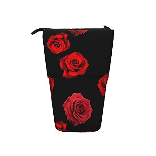 Teleskop-Bleistiftbeutel-Stift-Tasche verstreute rote Rosen auf schwarzem Federmäppchen Bleistift-Organizer-Box Kosmetiktasche