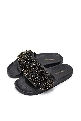 The White Brand sandały damskie na imprezę Peeptoe, czarny - Czarny Czarny Czarny - 38 EU