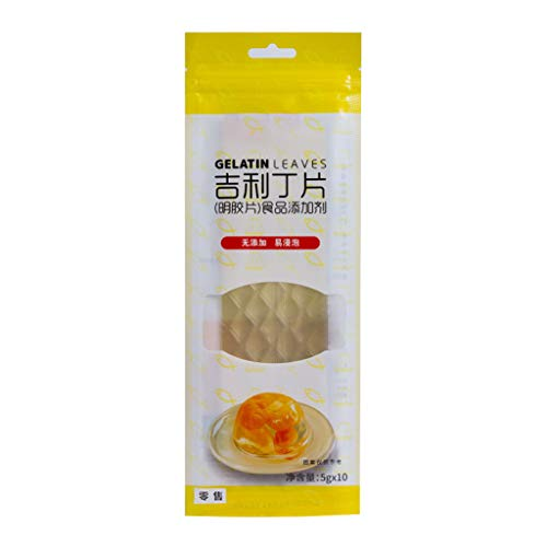 fivekim 10 Large Cof Halal Silver Leaf Gelatine Beef Gelatin Leaves For Baking Mix Edible Cake Baking Ingredients Light Yellow