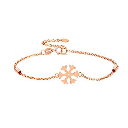 KnBob 18K Rose Gold Snowflake Bracelet for Women Chain Bracelet 7.5 Inch