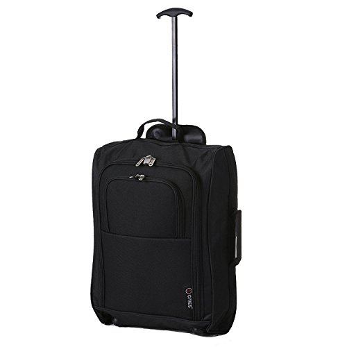 5 Cities 42L Lightweight Shopping Trolley Bag, Easy Storage for Shopping, Travelling - Large (Black Plain)
