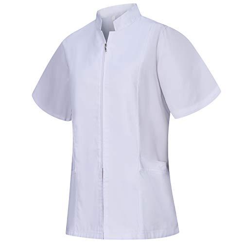 MISEMIYA - Arbeitskleidung Frau REIßVERSCHLUSS Kurze ÄRMEL UNIFORM KLINIK Krankenhaus Reinigung TIERARZT Gesundheit GASTGEWERBE - Ref.829 - Small, Weiß