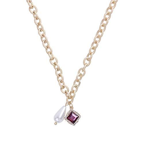 Ningz0l Halsketting voor dames, legering, Europa en Amerika met parels, kristal, hanger, korte sleutelbeen, ketting, vrouwelijke accessoires