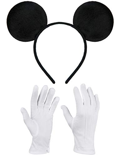 Balinco Haarreifen in schwarz mit Maus Ohren Micky Mouse inklusive weißen Handschuhen