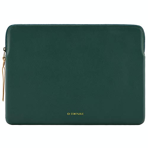 Comfyable Slim Protective Laptop Sleeve 13-13.3 inch Compatible for 13 Inch MacBook Pro & MacBook Air, PU Leather Bag Waterproof Cover Notebook Computer Case for Mac, Green