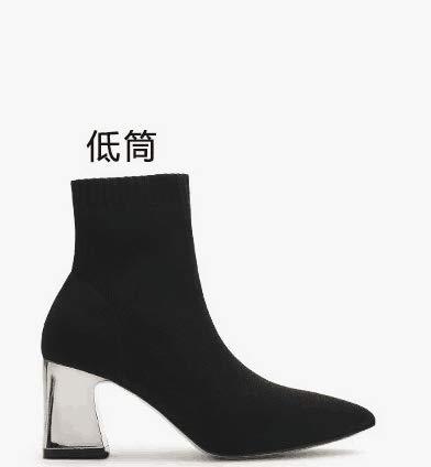 Shukun laarsjes sokken laarzen kleine laarzen vrouwen lente en herfst dik met punten hoge hakken slang breien dunne laarzen elastische laarzen