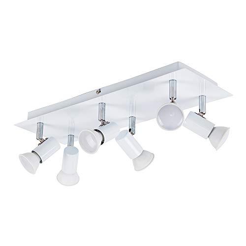 MiniSun - Moderno plafón para el techo 'Zweig' con 6 focos ajustables y base rectangular - Blanco Brillante [Clase de eficiencia energética A]