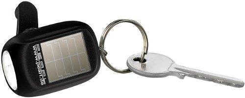 PEARL Solarlampe Mini: Mini-Solar-LED-Taschenlampe mit zusätzlichem Dynamo & Schlüsselring (Solarbetriebene Taschenlampe)