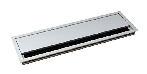 Gedotec Kabeldurchführung silber Schreibtisch ECO eckig mit Bürsten-Dichtung | Kabeldurchlass Aluminium silber eloxiert | Kabeldose 100 x 320 mm zum Eindrücken | 1 Stück - Alu Kabelausgang Tischplatte