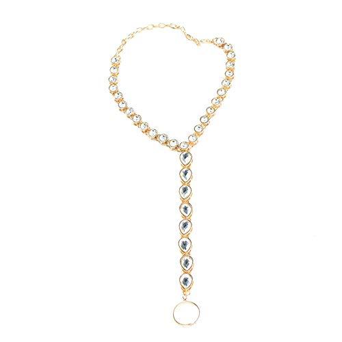 SonMo Damen Fußkette Legierungs Diamant Fußkettchen Gold Bohemian Fußschmuck Knöchel Kette Einstellbar Anklet Chain Zehenkette Zehenringe Länge 33Cm