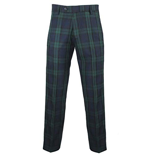 Pantaloni da golf da uomo in tartan, colore: nero Verde 40W corto