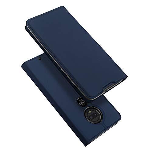 DUX DUCIS Hülle für Moto G7 / Moto G7 Plus, Leder Flip Handyhülle Schutzhülle Tasche Hülle mit [Kartenfach] [Standfunktion] [Magnetverschluss] für Motorola Moto G7 / Moto G7 Plus (Blau)