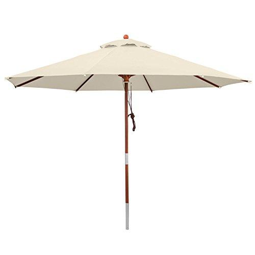 anndora® Sonnenschirm Gartenschirm 3,5 m rund - UV Schutz + Winddach - Natural