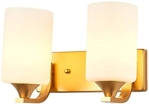 Lámparas de pared industriales, Luz de pared Doble cabeza Cabeza de vidrio Sombra rectángulo Dorado Metal pintado Acabados Moderna Lámpara de pared pequeña simple para dormitorio Lámpara de noche Lámp