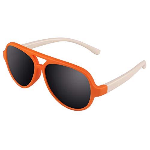 CGID CGID Gummi Flexible Kinder Polarisierte Fliegerbrille Pilotenbrille für Baby und Kinder im Alter von 3-6, K93,Orange Weiß