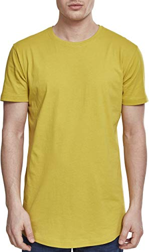 Urban Classics Herren Shaped Long Tee T-Shirt, Gelb (Lemonmustard), XS