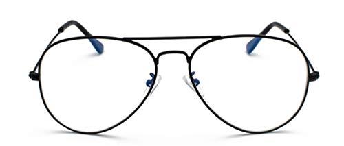 MIGOO Aviador Gafas con Filtro de luz Azul Metal Estilo Retro de los Años Sesenta Lente Transparente para Hombres Mujeres