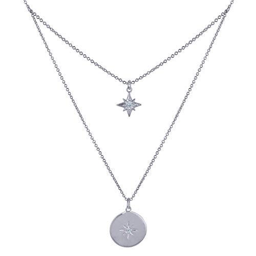 Joyas Les Poulettes - Collar Plata Rodio Cadena Doble Estrella Polar y Pedrería