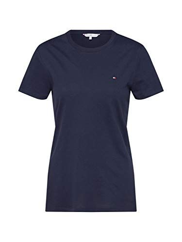 Tommy Hilfiger ZA New Lucy C-NK Top SS Camiseta, Azul, S para Mujer